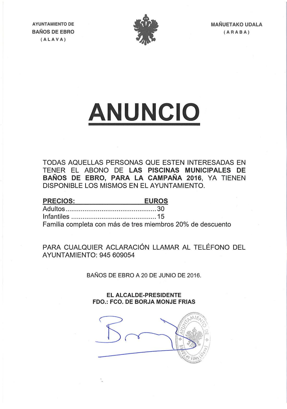 DISPONIBLES LOS ABONOS DE LAS PISCINAS MUNICIPALES, CAMPAÑA 2016